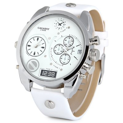 Cagarny 6822 Male Quartz Watch Double Movt Date