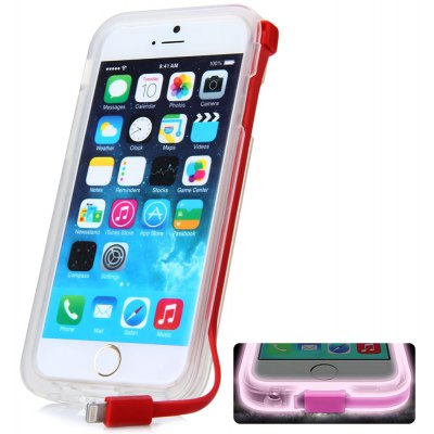 High Speed USB Charger Cable Design Transparent Plastic and TPU Back Cover Case with Flash Light for iPhone 6  -  4.7 inches