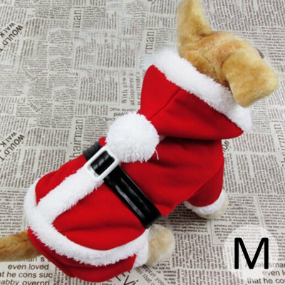 M Size Warm Pet Christmas Clothes Outwear with Cap for Doggy  -  Red