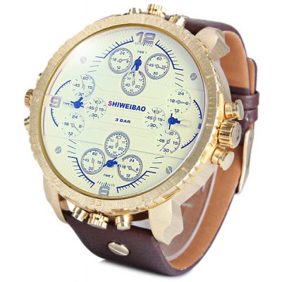 Shiweibao A1165 Four Quartz Movt Male Watch Leather Strap Big Round Dial Day for Sports