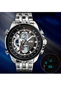 Skmei 0993 Double Time Men Quartz Digital Watch 3ATM Waterproof with Date Week Stainless Steel Band