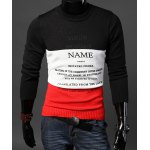 Buy Stylish Round Neck Slimming Letters Printed Color Block Splicing Long Sleeve Cotton Sweater Men XL BLACK