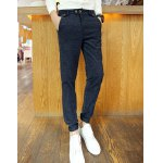 Buy Casual Style Slimming Narrow Feet Zipper Fly Button Embellished Colorful Ribbon Splicing Men's Cotton Blend Pants XL