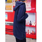 Buy Casual Style Long Sleeves Slimming Hooded Personality Zipper Design Five-Pointed Star Rivet Embellished Men's Cotton Blend Hoodies XL DEEP BLUE