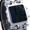 TVG 2231 LED Watch Week Month Day Display Rubber Wristband Rectangle Dial deal