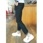 Buy Slimming Trendy Solid Color Lace-Up Button Embellished Narrow Feet Men's Cotton Blend Pants 29