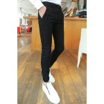Buy Stylish Zipper Fly Slimming Solid Color Button Embellished Narrow Feet Men's Cotton Blend Pants 29