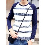 Buy Casual Style Round Neck Slimming Geometric Print Color Block Design Long Sleeves Men's T-Shirt XL WHITE