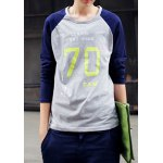 Buy Casual Style Round Neck Letters Print Color Block Design Long Sleeves Men's Cotton Blend T-Shirt XL GRAY