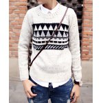 Buy Casual Style Round Neck Dot Geometric Print Slimming Long Sleeves Men's Cotton Sweater XL