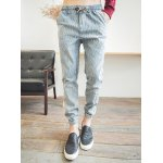 Buy Casual Style Lace-Up Slimming Stripes Print Hole Embellished Narrow Feet Men's Cotton Blend Pants XL STRIPE