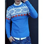 Buy Casual Style Long Sleeves Round Neck Slimming Geometry Print Men's Cotton Blend Sweater 2XL