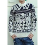 Buy Casual Style Long Sleeves Slimming Round Neck Geometry Print Men's Cotton Blend Sweater XL
