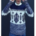 Buy Casual Style Long Sleeves Slimming Round Neck Abstract Print Color Splicing Men's Cotton Blend Sweater XL