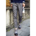 Buy Casual Style Lace-Up Fashion Floral Print Splicing Slimming Crimping Narrow Feet Men's Pants 2XL DEEP GRAY