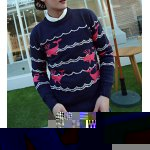 Buy Casual Style Long Sleeves Slimming Round Neck Whale Print Men's Cotton Blend Sweater 2XL