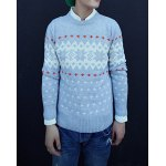Buy Casual Style Long Sleeves Slimming Round Neck Abstract Print Men's Cotton Blend Sweater 2XL