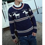 Buy Casual Style Long Sleeves Slimming Round Neck Deerlet Print Men's Cotton Blend Sweater 2XL