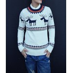 Buy Casual Style Long Sleeves Slimming Round Neck Deerlet Print Men's Cotton Blend Sweater XL