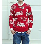 Buy Casual Style Long Sleeves Round Neck Slimming Animal Print Men's Cotton Blend Sweater XL