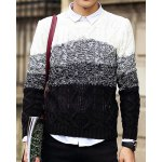 Buy Casual Style Round Neck Slimming Knitting Print Ombre Design Long Sleeves Men's Sweater XL