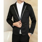 Buy Black Fashion Color Splicing Lapel Design Slimming Button Embellished Long Sleeves Men's Blazer-26.89 Online Shopping GearBest.com