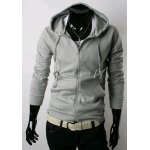Buy Casual Style Hooded Slimming Solid Color Long Sleeves Men's Polyester Hoodies M LIGHT GRAY