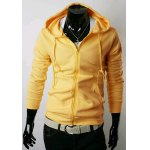 Buy Yellow Casual Style Hooded Slimming Solid Color Long Sleeves Men's Polyester Hoodies-18.81 Online Shopping GearBest.com