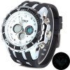 Buy Hpolw 591 Japan Dual Movt Watch 3ATM Water Resistant Round Dial Rubber Wristband Men WHITE