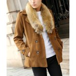 Buy Earthy Stylish Fur Collar Slimming Solid Color Double Breasted Long Sleeve Thicken Woolen Trench Coat Men-67.61 Online Shopping GearBest.com