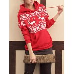 cheap Stylish Hooded Long Sleeve Snowflakes Fawn Pattern Loose-Fitting Women's Hoodie