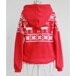 Stylish Hooded Long Sleeve Snowflakes Fawn Pattern Loose-Fitting Women's Hoodie for sale