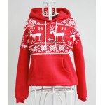Stylish Hooded Long Sleeve Snowflakes Fawn Pattern Loose-Fitting Women's Hoodie deal