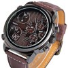 Oulm 3299 Men Multi - movt Quartz Watch Japanese Movement Leather Band Round Dial deal