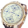 Shiweibao A1165 Four Quartz Movt Male Watch Leather Strap Big Round Dial Day for Sports deal