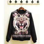 Buy Stylish Stand Collar Leopard Print Rib Splicing Slimming Long Sleeves Men's PU Leather Jacket XL BLACK
