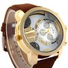 Shiweibao A3132 Men Dual Quartz Watch with Leather Band Big Dial deal
