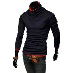 cheap Stylish Stand Collar Slimming Color Splicing Buttons Design Long Sleeve Polyester Sweatshirt For Men
