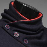 Stylish Stand Collar Slimming Color Splicing Buttons Design Long Sleeve Polyester Sweatshirt For Men deal