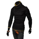 Buy Stylish Stand Collar Slimming Color Splicing Buttons Design Long Sleeve Polyester Sweatshirt Men L YELLOW