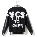 cheap Stylish Stand Collar Loose Fit Thicken Star Letter Printed PU Leather Splicing Long Sleeve Polyester Jacket For Men