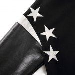 best Stylish Stand Collar Loose Fit Thicken Star Letter Printed PU Leather Splicing Long Sleeve Polyester Jacket For Men