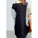 Stylish Scoop Neck Dolman Sleeve Houndstooth T-Shirt For Women deal