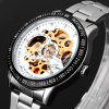 Jijia 8010 Men Mechanical Watch Self - winding Hollow - out Round Dial Stainless Steel Wristband for sale