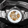 Jijia 8010 Men Mechanical Watch Self - winding Hollow - out Round Dial Stainless Steel Wristband photo