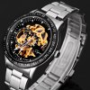 best Jijia 8010 Men Mechanical Watch Self - winding Hollow - out Round Dial Stainless Steel Wristband