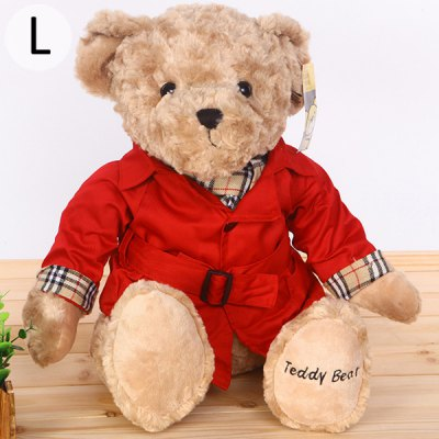 30cm Large Size Lovely Teddy Bear Plush Toy Stuffed Animal Doll with Cool Clothes  -  RED