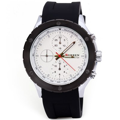 Curren 8165 Men Wristwatch Water Resistant Watch with Big Dial Rubber BandMens Watches<br>Curren 8165 Men Wristwatch Water Resistant Watch with Big Dial Rubber Band<br><br>Brand: Curren<br>Watches categories: Male table<br>Watch style: Fashion<br>Style elements: Big dial<br>Available color: Black, White, Blue, Orange<br>Movement type: Quartz watch<br>Shape of the dial: Round<br>Display type: Analog<br>Case material: Stainless steel<br>Band material: Rubber<br>Clasp type: Pin buckle<br>Special features: Decorating small sub-dials<br>Water Resistance: Life water resistant<br>The dial thickness: 1.1 cm / 0.4 inches<br>The dial diameter: 4.8 cm / 1.9 inches<br>The band width: 2.2 cm / 0.9 inches<br>Product weight: 0.106 kg<br>Product size (L x W x H): 24.5 x 4.8 x 1.1 cm / 9.6 x 1.9 x 0.4 inches<br>Package Contents: 1 x Watch