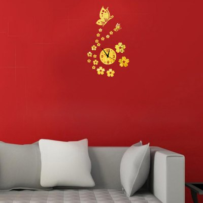 ФОТО Creative Butterfly Style Home Appliances Decoration Wall Sticker with Clock Pattern