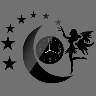 ФОТО Creative Moon and Star Style Home Appliances Decoration Wall Sticker with Clock Pattern